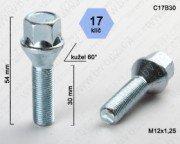 Šroub ALU M12x1,25 L30mm kužel