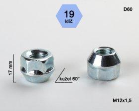 Kolová matice M12x1,5 L17mm kužel otevřená/19klíč
