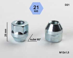Kolová matice M12x1,5 L25mm kužel otevřená/21klíč