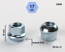 Kolová matice M12x1,5 L18mm koule otevřená/17klíč