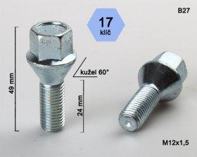 Kolový šroub M12x1,5 L24mm kužel/17klíč