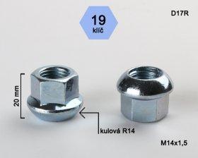 Kolová matice M14x1,5 L20mm koule otevřená/19klíč