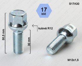 Kolový šroub ALU M12x1,5 L30mm koule/17klíč
