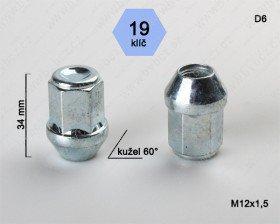 Kolová matice ALU M12x1,5  ALU kužel uzavřená/19klíč