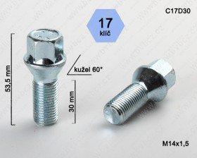 Kolový šroub ALU disk M14x1,5L30mm kužel/17klíč