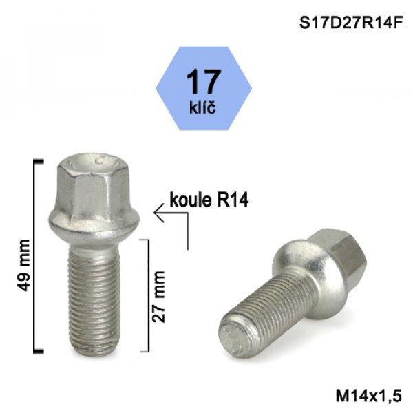 Kolový šroub M14x1,5 L27mm koule R14 /17klíč