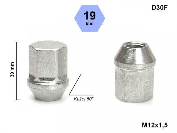 Kolová matice M12x1,5 L30mm kužel zavřená/19klíč D30F