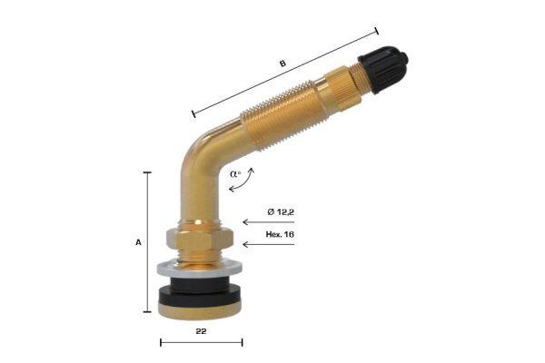TR622 ventil bezdušový pro pneumatiky agro,stavební pr.16mm