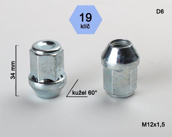 Kolová matice ALU M12x1,5 L34mm kužel uzavřená/19klíč D6